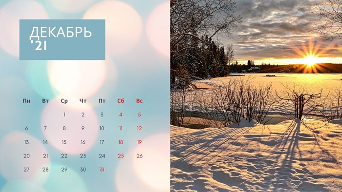 Календарь на декабрь 2021 года с праздниками и выходными
