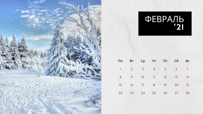 Календарь на февраль 2021 года с праздниками и выходными